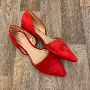 A New Day Red Faux Suede Flat